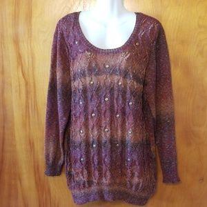 Cato Sweater, 22/24, Fall Colors~Plum, Rust